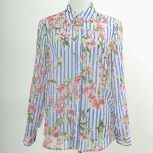 Talbots Medium Sheer Blouse Striped Floral Print